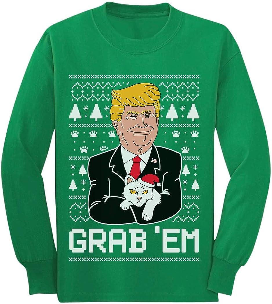 Donald Trump Grabem Funny Ugly Christmas Youth Kids Long Sleeve T-Shirt