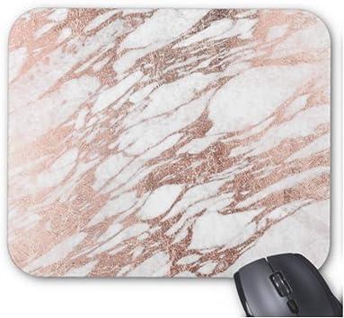 Gaming Mouse Pad Chic, Elegante mármol Blanco y Rosa Dorado para computadora de Escritorio y Laptop Pack xcm,Estera de Goma de 11.8
