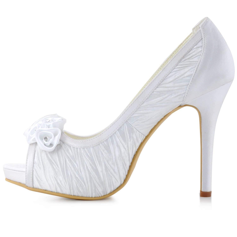 Qiusa Mädchen Mädchen Mädchen Geraffte Stiletto High Heel Braut Hochzeit Sandalen (Farbe   Weiß-10cm Heel Größe   5 UK) 81815b