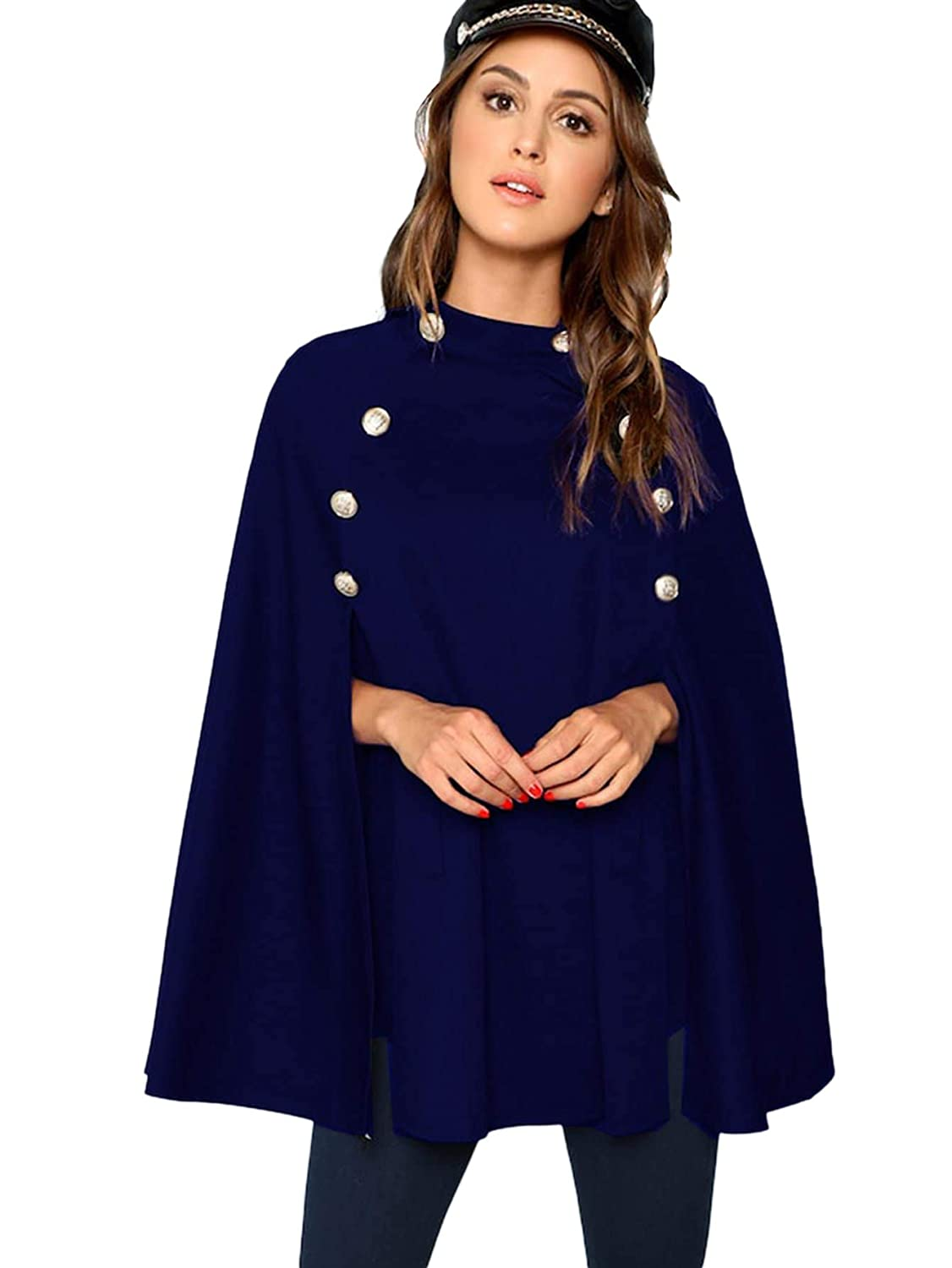 Vintage Coats & Jackets | Retro Coats and Jackets MAKEMECHIC Womens Double Button Cloak Sleeve Elegant Cape Mock Poncho Classy Coat $30.99 AT vintagedancer.com