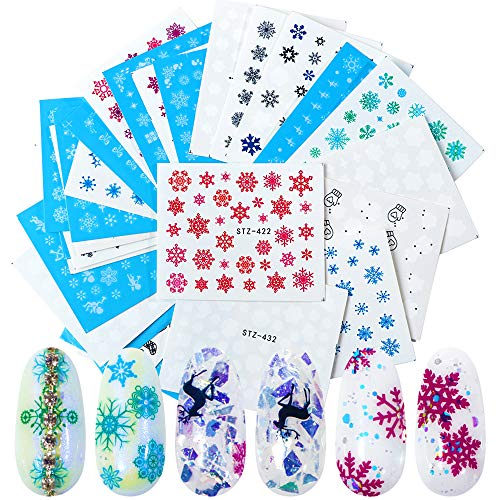 Nail Stickers Self-adhesive Black Nail Decals 30 Sheets DIY Winter White Snowflake Christmas Bell Cupid Nail Art Stickers for Fingernails & Toenails Decor Supplies Water Transfer Printing