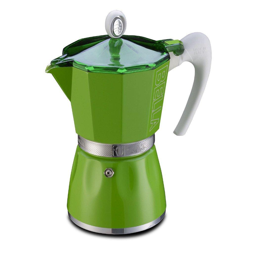 GAT Bella - Stove Top Espresso Coffee Maker - Ergonomic Handle - Certified Food Safe Aluminium - Green - 3 Cups by GAT
