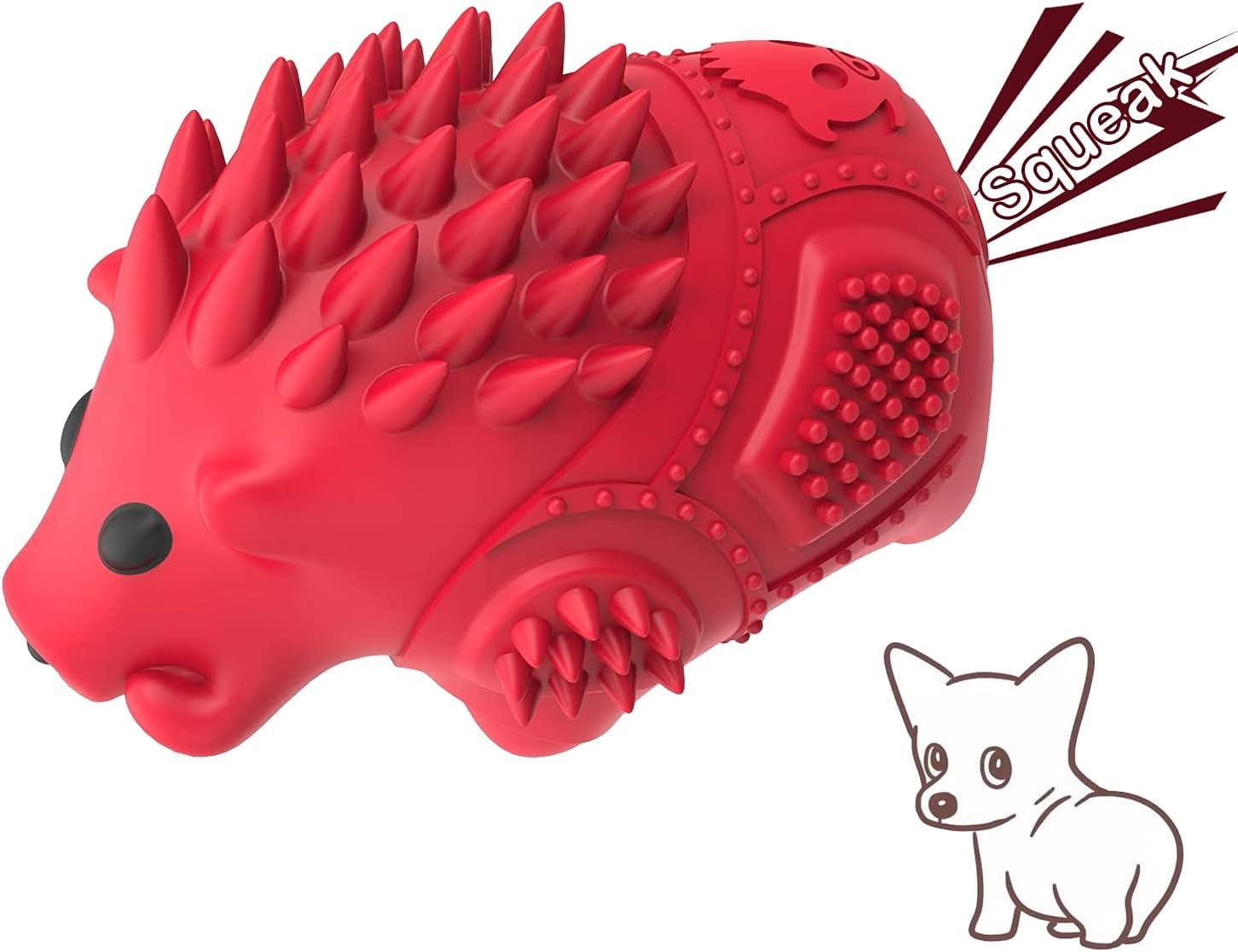 Dog Squeaky Toys – 互动耐用狗狗咀嚼玩具,含牛奶味,天然橡胶和清洁牙齿,适用于 20-70 个 Ib 狗狗强力咀嚼器