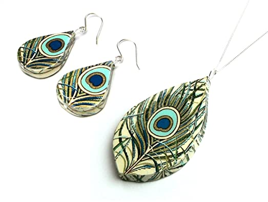 Anniversary gift for her ~ Amazon paper anniversary gift peacock paper jewelry set