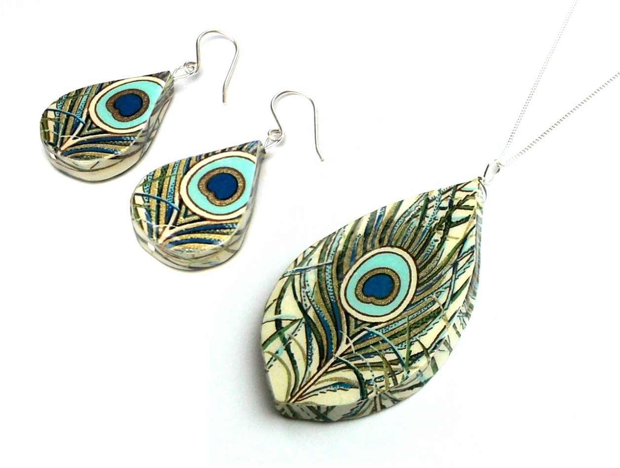 Paper Anniversary Gift - Peacock Paper Jewelry Set - Unique First Anniversary Gift for Her