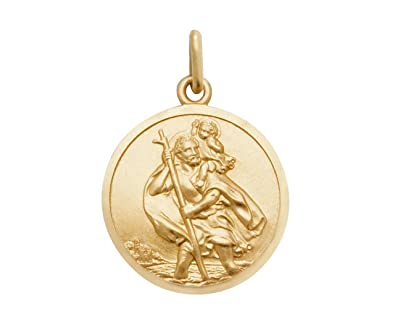23a7e5235f1 9ct Yellow Gold 18mm Diameter Round St Christopher Medallion Charm Pendant:  without chain: Amazon.co.uk: Jewellery