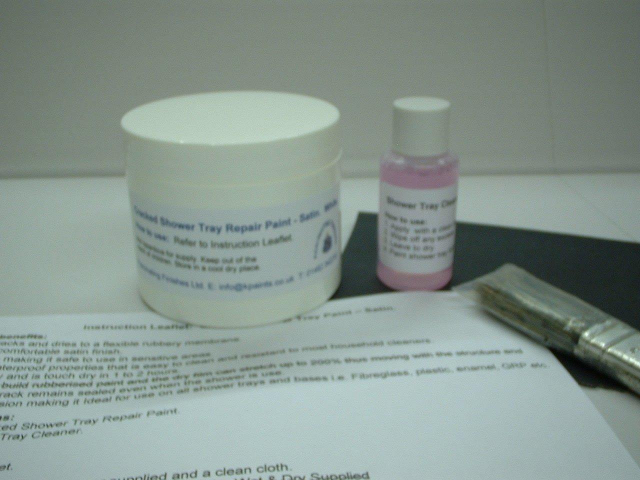 1 x Cracked Shower Tray / Base Repair Paint. Satin White.: Amazon.co ...