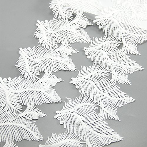 Crochet Ribbon Floral Applique - 5 Yards White Cotton Feather Plumage Lace Trim Applique Sewing DIY Craft Lace For Festival/Wedding/Party/Birthday/Bridal Shower Decoration and DIY Handmande Accessories (Feather)