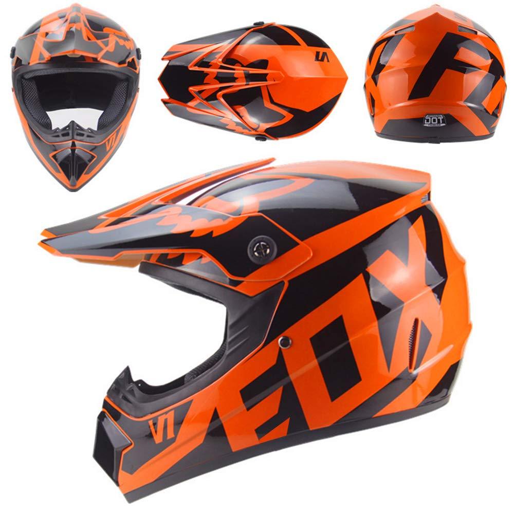 QSWSW Casco de Moto Motocross Adulto Casco MX Motocicleta Scooter Casco ATV Casco Carrera D XL , naranja T Certificado con Guantes Protectores Cortavientos protecci/ón 59~60cm O