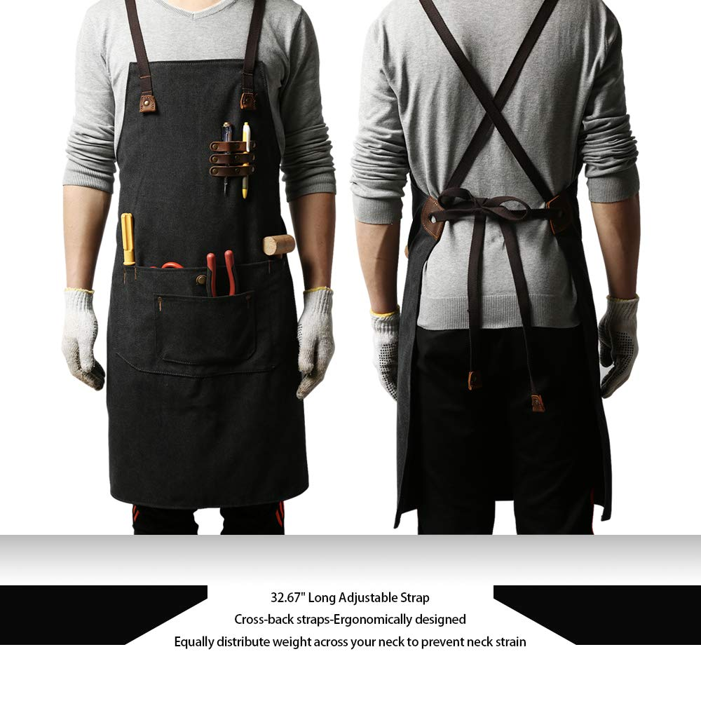 G-FAVOR Work Apron Canvas Welding Tool Woodworking Apron Durable Heavy Duty with Tool Pockets for Men Women Cross Back Straps Adjustable S to XXL(Black) by G-FAVOR (Image #3)