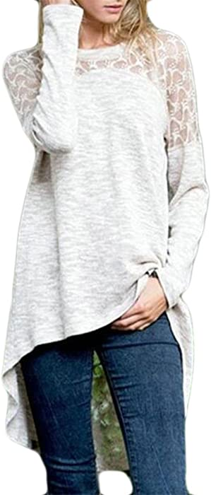 0e0b2e7bfc5dcc CBTLVSN Women Casual Round Neck Floral Lace Long Sleeve High Low Shirt  Blouse Top Light Grey XXS at Amazon Women's Clothing store: