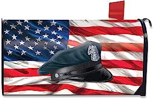 Briarwood Lane Police Hat Magnetic Mailbox Cover Patriotic Policeman Standard