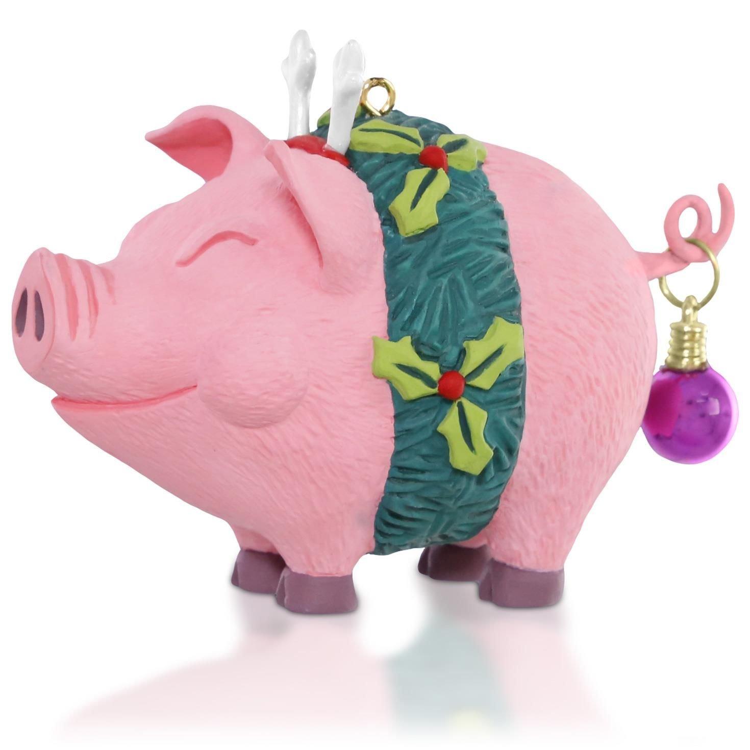 Amazon.com: Deck the Hogs! Christmas Pig Ornament 2015 Hallmark ...