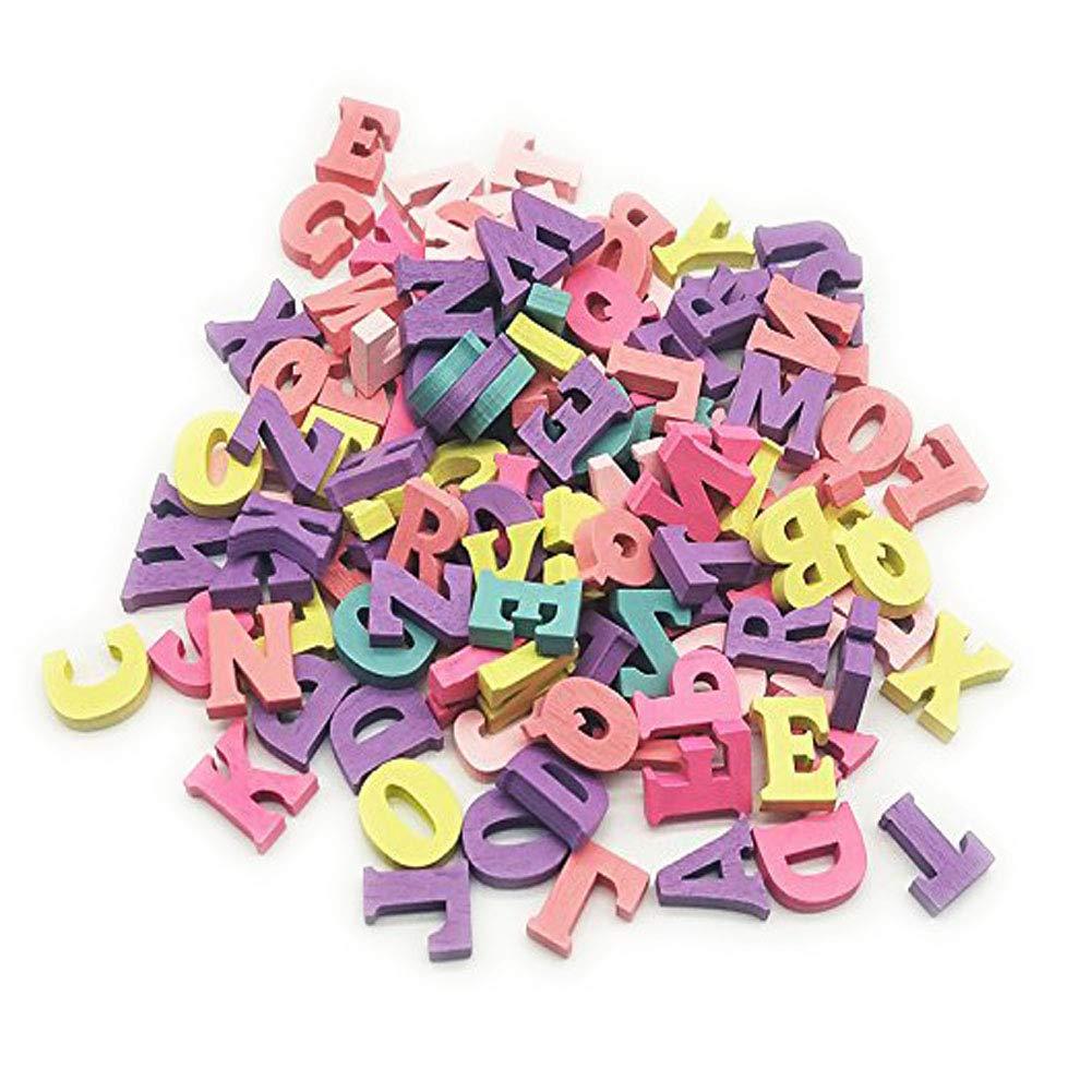 Kentop 100PCS Alphabet Lettres de Bois Multicolore en Bois pour Maison Party DIY Décoration, Bois, Alphabet, 15 mm