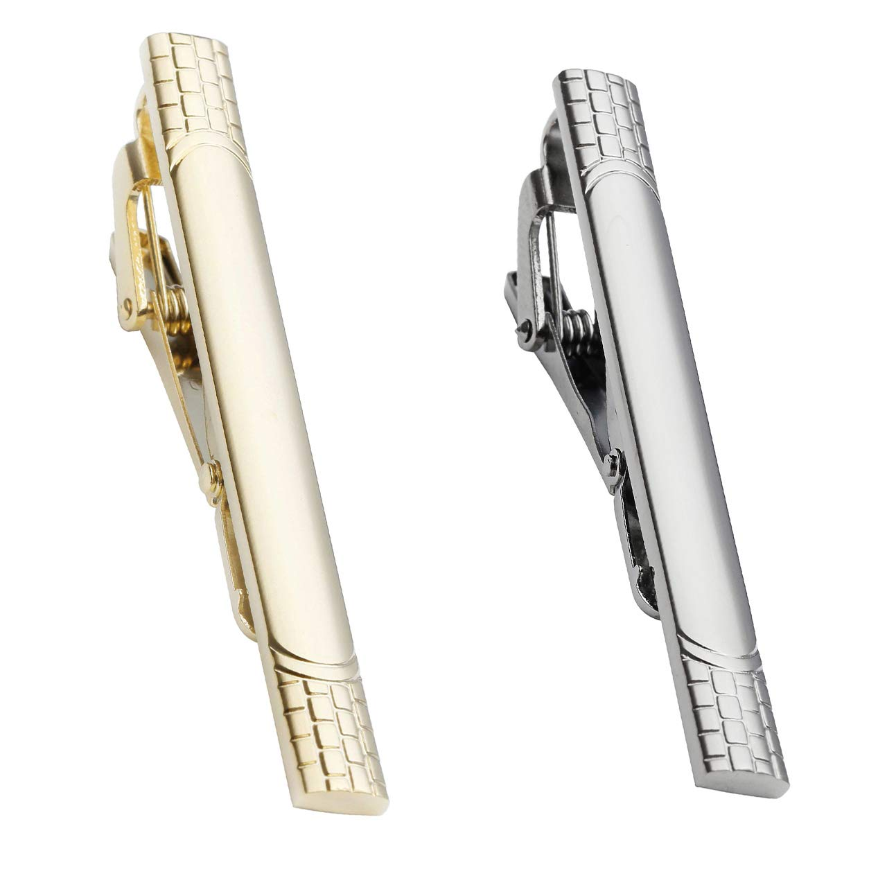 Zysta 2PCS Plaid Checkered Style Multiple Colors Elegant Skinny Tie Clips Set 2.3 Necktie Bar Pinch Tack Stainless Steel Polished Luxury Gift Box BBUS030156
