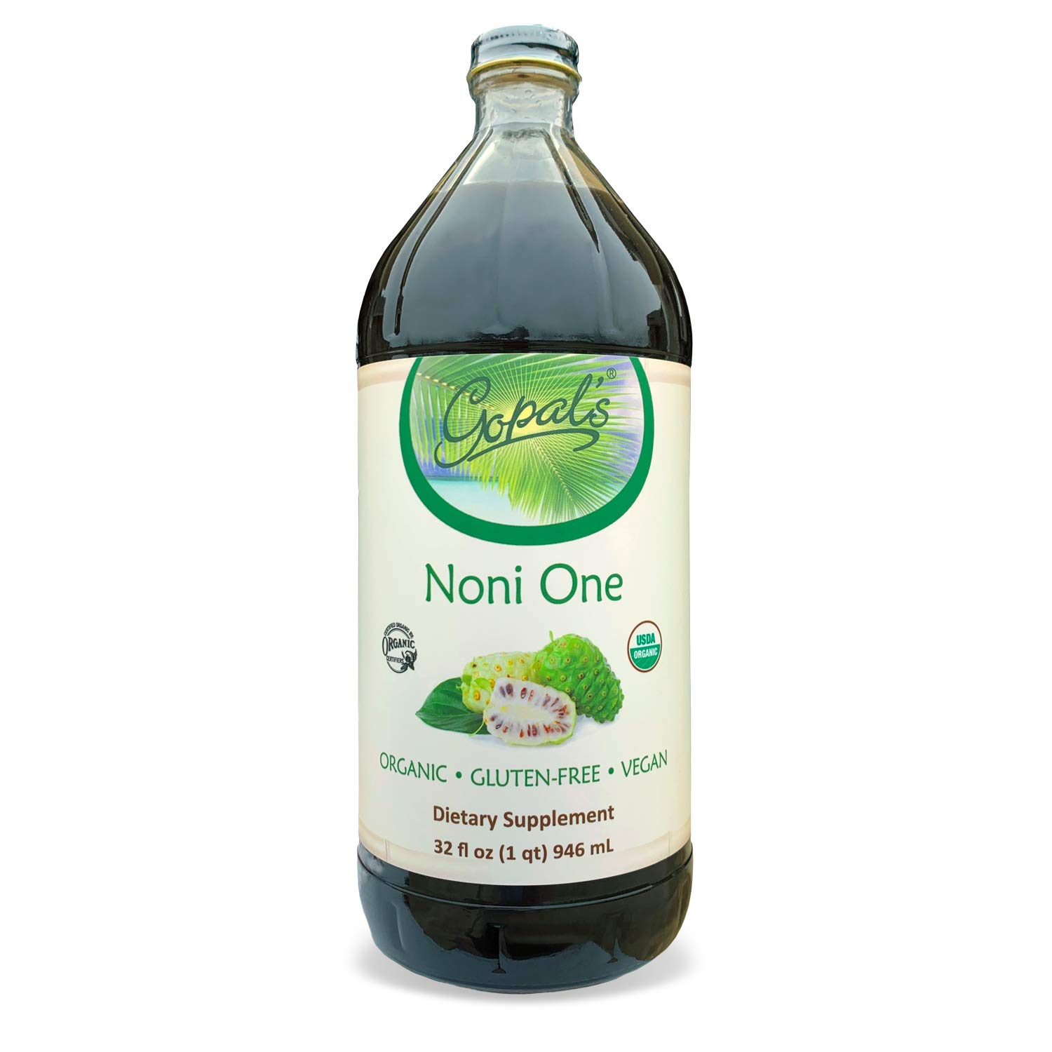 Noni One | 100% Pure Organic Noni Juice - 32oz Glass Bottle (1 qt) | Gluten-Free and Vegan Superfruit Supplement, 30,000mg of Noni Juice Per Serving, Vitamin and Antioxidant Rich | Gopal's Healthfoods