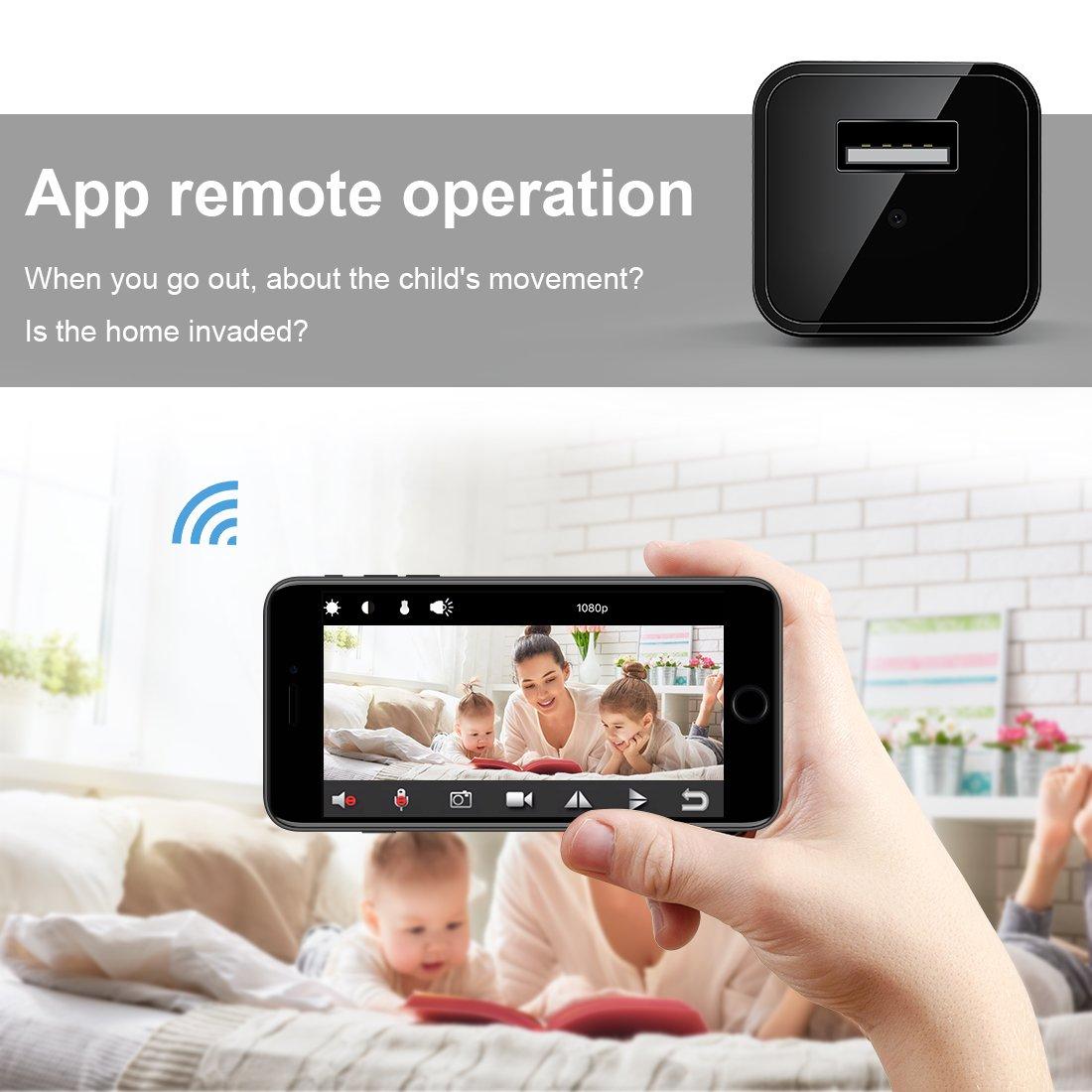 FREDI 1080P Mini Caméra Espion WiFi Caméscope Caché IP sans Fil Sécurité Caméra de Surveillance Chargeur USB Portable Détection de Mouvement (Jusqu\'à 128 Go)