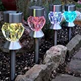 New 4 Pack Multi Coloured 2 In 1 Led Solar Powered Garden Lights, Makes Garden Pathways & Flower Beds Look Great, Perfect Neutral Design, All-Weather/Water- Resistant.