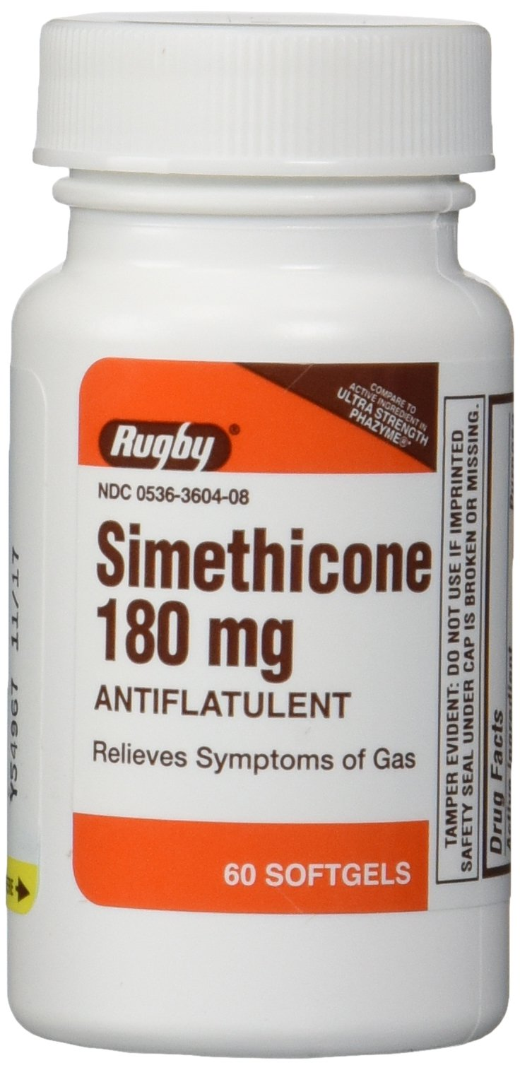 Simethicone 180mg Softgels Anti-Gas Generic for Phazyme Ultra Strength 6 PACK of 60 Softgels, Total 360 Softgels.