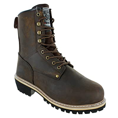 """Rugged Blue 8"""" Men's Pioneer II Insulated Logger Boot   Industrial & Construction Boots"""