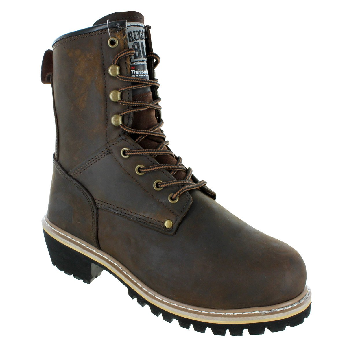 Rugged Blue Pioneer II Insulated Logger Boot Steel Toe 8M Brown