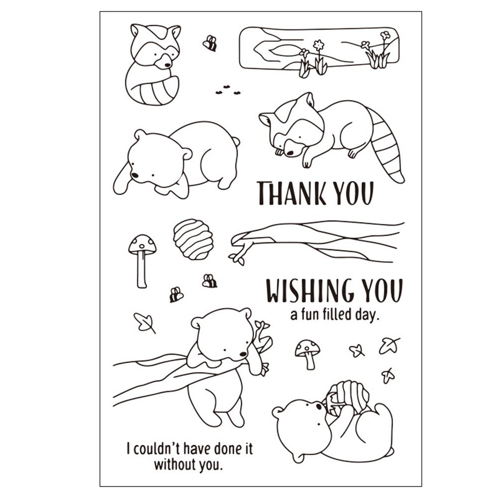 Qweryboo Animal frame stamp dies Transparent clear stamp craft stamp for Card Making Decoration and Scrapbooking (tree climbing bear)