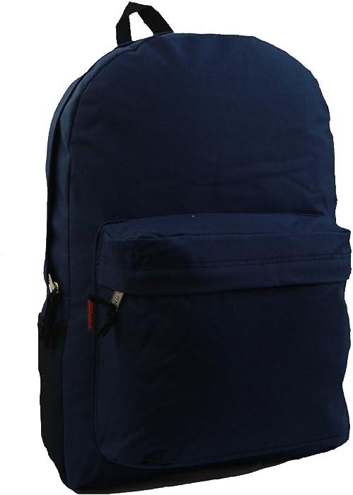 ba6f22baf0c2 ... 18in Classic Backpack Basic Bookbag Simple School Book Bags Vintage  Emergency Daypack w Padded Back ...
