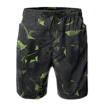 Bdna Green Galaxy Men's Beach Shorts Swim Trunks Casual Sport Print Short Pants Jogging Pants