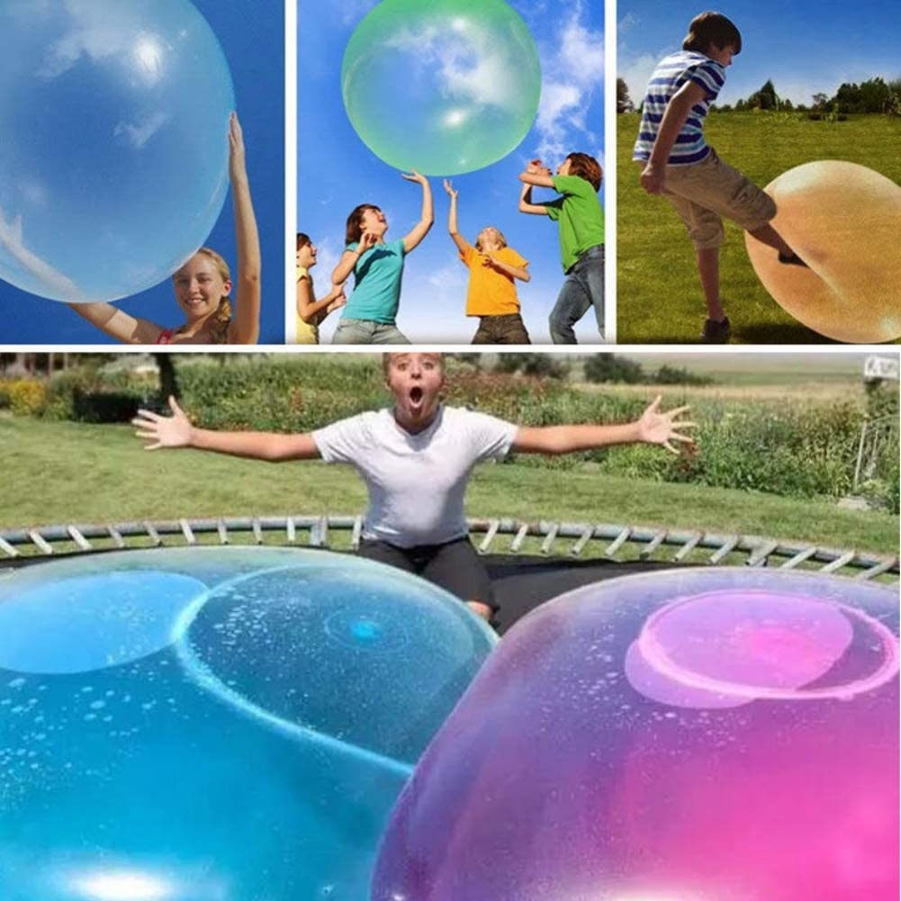 Large Transparent Bounce Balloon for Childrens Outdoor Activities Novobey 2 Pcs Outdoor Fun Inflatable Bubble Balls Toy Random Color