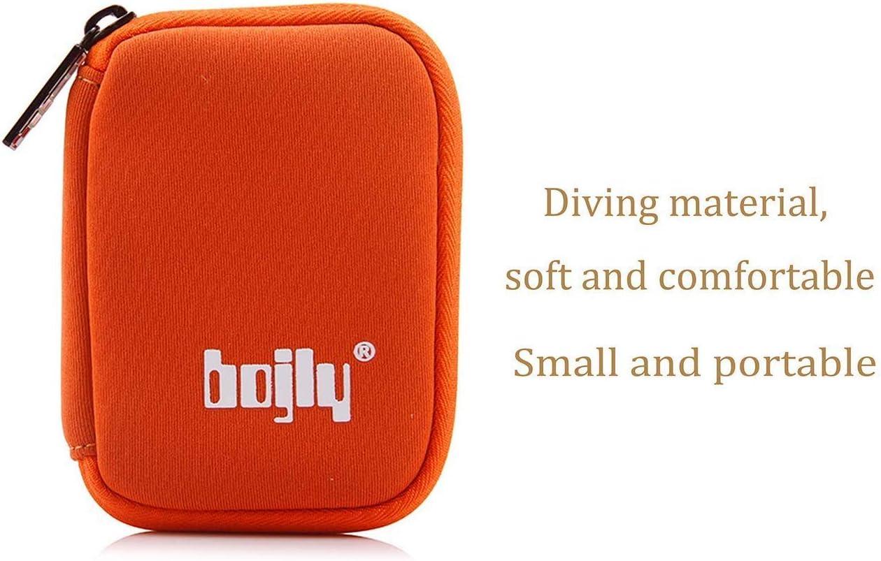 Chiave USB Nero Bojly Custodia per chiavette USB Mini Borsa Accessori in Nylon Resistente con 6 Scomparti per Scheda SD Cavo per Auricolare e Disco Rigido Esterno