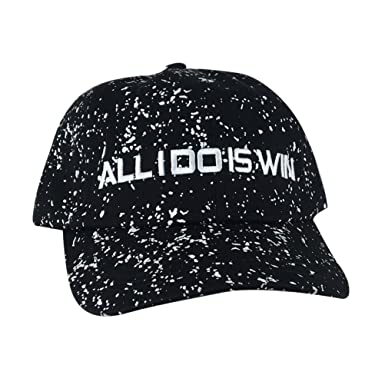 5fb971e04af Image Unavailable. Image not available for. Color  ALL I DO IS WIN  Unstructured Paint Dot Strapback Hat Dad Cap - Black White