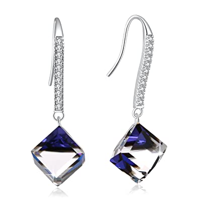 2623fa08d SUE'S SECRET Color Changing Cubic Earring with Swarovski Crystals, Ocean  Blue Drop Dangle Crystal Earrings