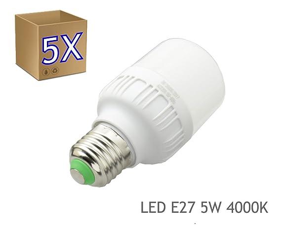 5 x Bombilla LED 5W rosca E27 luz 4000K blanco neutro