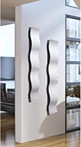 """Statements2000 Set of Two White 3D Abstract Metal Wall Art Sculpture Wave - Modern Home Décor by Jon Allen - 46.5"""" x 6"""""""