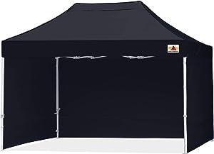 ABCCANOPY Ez Pop Up Canopy Tent with Sidewalls 10x15 Commercial -Series,Black