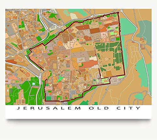Jerusalem Map Print, Israel, Old City, Art Poster