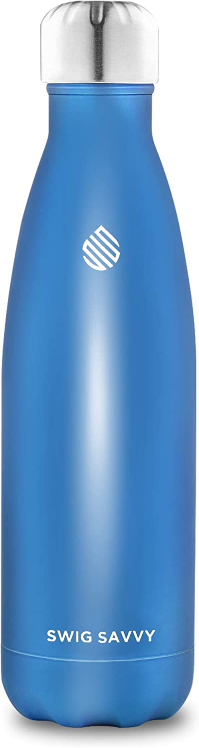 SWIG SAVVY 17oz Stainless Steel Insulated Water Bottle Condensation Free with Vacuum Double Wall Construction. Cola Shaped,