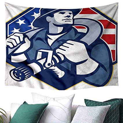 Amazon Fireman Tapestry Wall Hanging 3D Printing American Theme