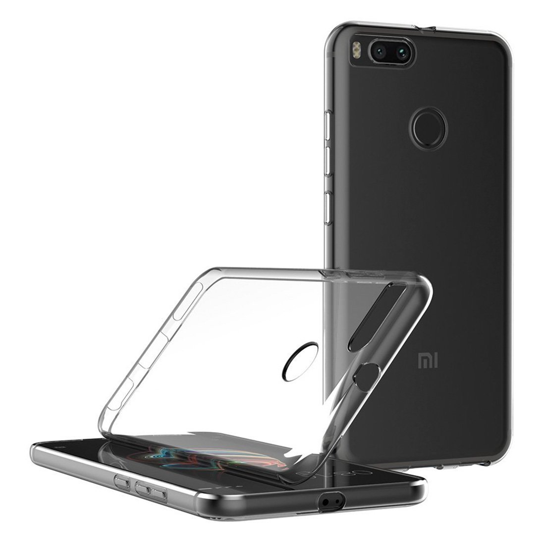 Funda + Vidrio Templado Cristal para Xiaomi Mi A1 Leathlux Transparente TPU Silicona Ultra Fino Protector de Pantalla 9H Dureza HD y Flexible Back Case Cover para Xiaomi Mi A1 // Mi 5X 5.5 Funda