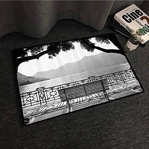 Grey Interior Door mat Romantic Scenery with a Bench by The Lake Outdoors Trees Empty Park View Mountain Range Non-Slip Door mat pad Machine can be Washed W35 xL59 Grey