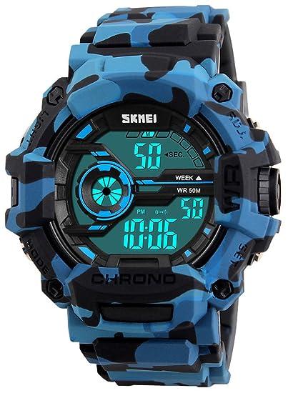 Fanmis de los Hombres Digital LED Deportes Reloj Impermeable electrónica Casual Military muñeca Correa de Camuflaje Azul niños Reloj con Banda de Silicona ...