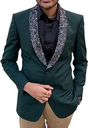 INMONARCH Mens Slim fit Casual Olive Drab Velvet Blazer Sport Jacket Coat Design VB15600