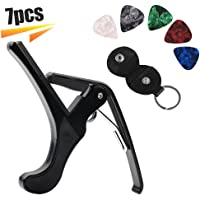 Guitar Capo Acoustic Guitar Picks Quick Change Acoustic Guitar Accessories Key Clamp Guitar Picks Holder Bag Leather Black with Free Different Color Guitar Picks(7pcs)
