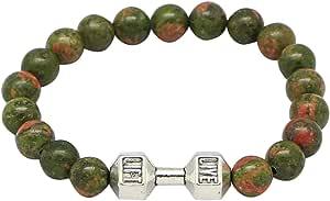 Bracelet Made Of Unakite Stone By Live Lift, 16Cm, Unisex, Multi-Colors