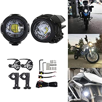 Motorcycle Fog Light Front Spotlight Motorcycle LED Headlights 40W 3000lm Waterproof Moto Fog Lamps For BMW R1200GS F800GS with Front Guard Grills and Harness