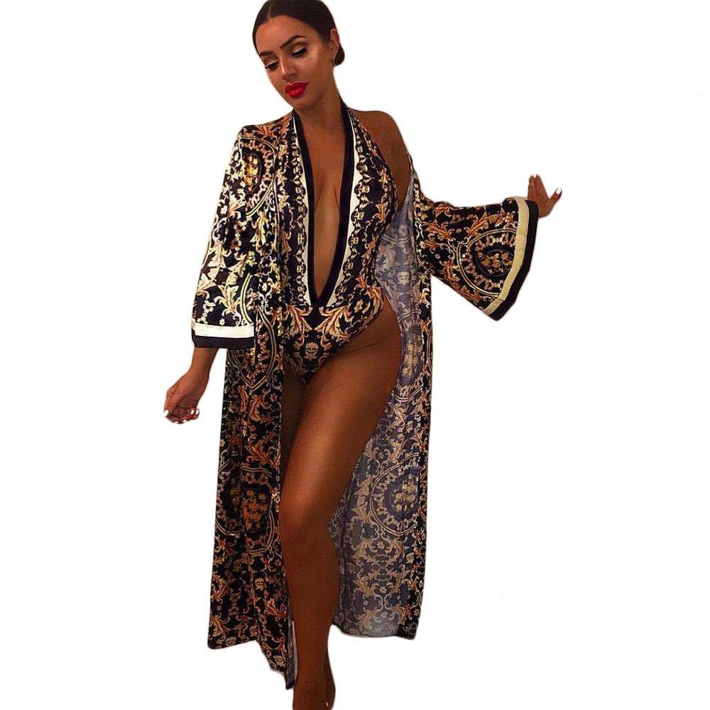 Faionny Women V-Neck Print Jumpsuit Autumn Cardigan Beach Wear Long Coat Sexy 2 Pieces Sets Clearance Sale