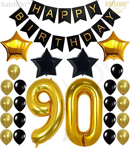 Happy 90th Birthday Balloons (90th Birthday Decorations Party Supplies - Large Number 90 | Happy Birthday Banner | Black and Gold Balloons | 90th Birthday Party Decorations Kit | Great For 90 Year Old)