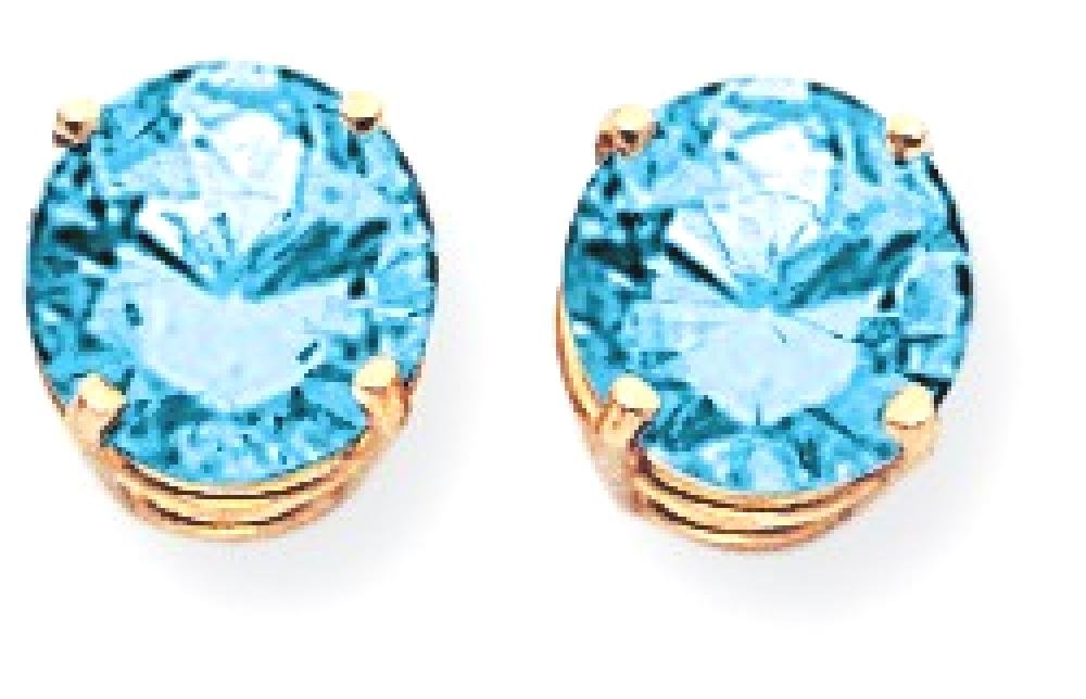 ICE CARATS 14k Yellow Gold 8mm Blue Topaz Post Stud Ball Button Earrings Gemstone Fine Jewelry Gift Set For Women Heart
