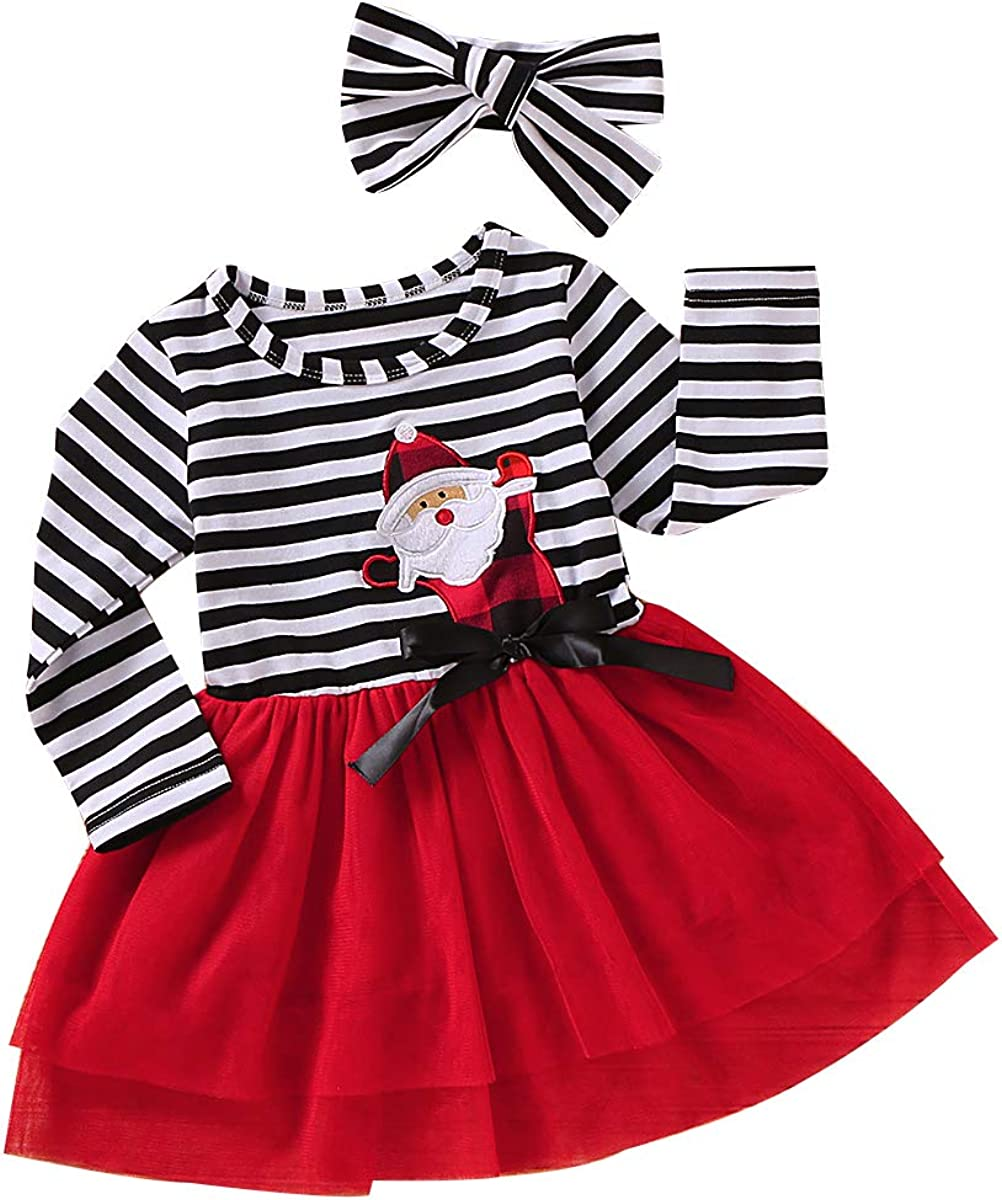 Toddler Baby Kid Girls Christmas Deer Striped Print Tulle Dress+Headband Outfits