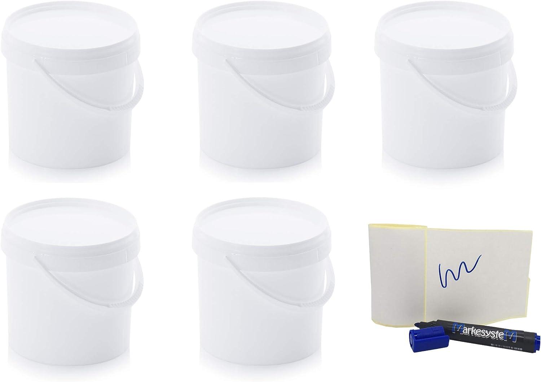 MARKESYSTEM - Cubo HERMÉTICO Catering - Pack de 5 X 3,8 litros - Cubos de Plástico con Tapa - Contenedores Apilables - Envasar Alimentos, Líquidos y Pinturas - Polipropileno Blanco + Kit Etiquetado